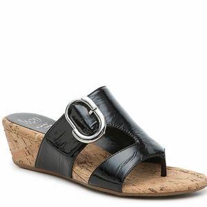 NEW Impo Gisselle black wedge sandals Sz 7 NIB